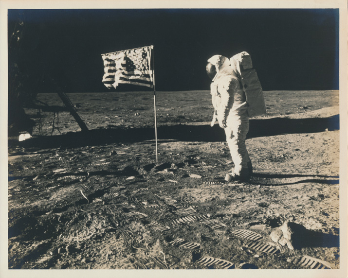 Buzz Aldrin poses for a photo on the moon beside the deployed U.S. flag during Apollo 11 (NASA)